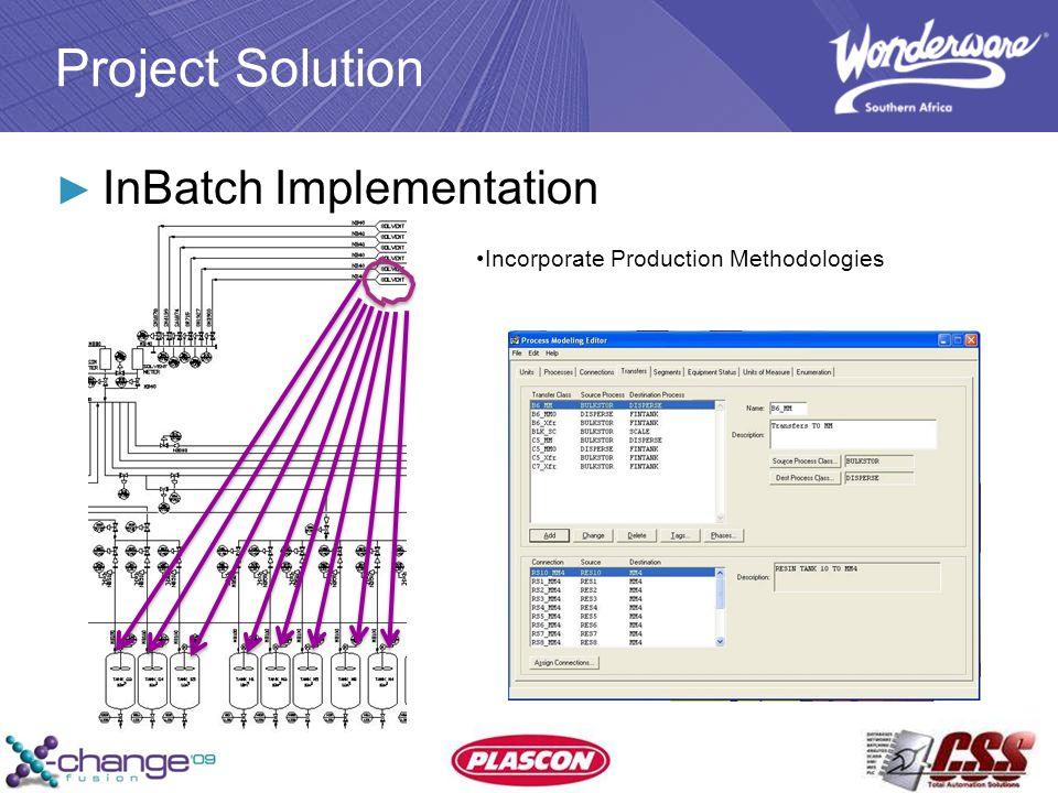 Project Solution ► InBatch Implementation Incorporate Production Methodologies