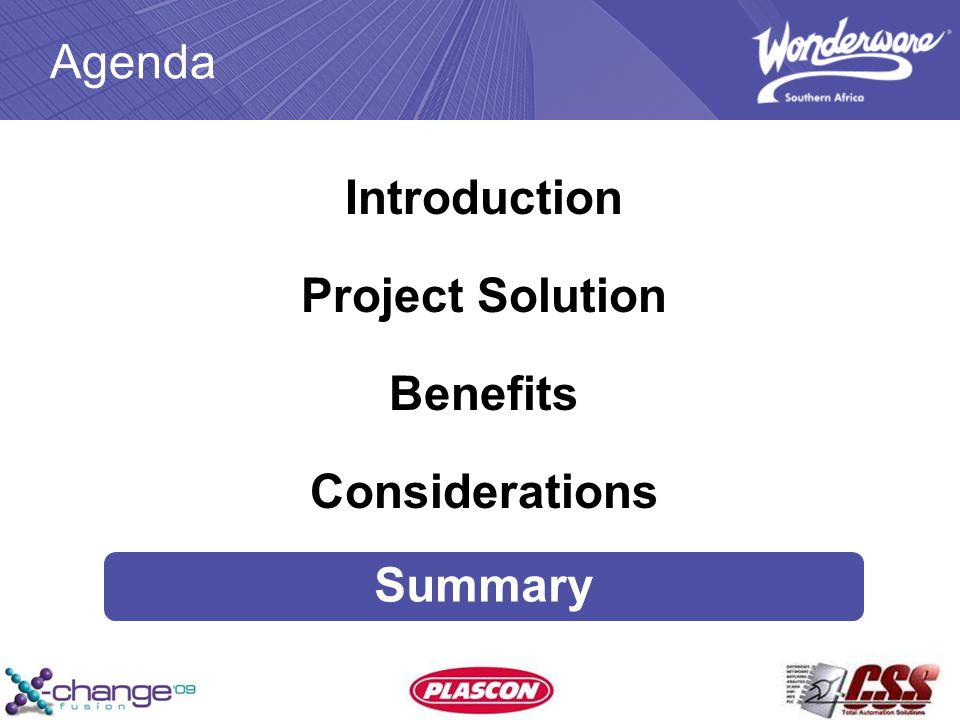 Agenda Introduction Project Solution Benefits Considerations Summary