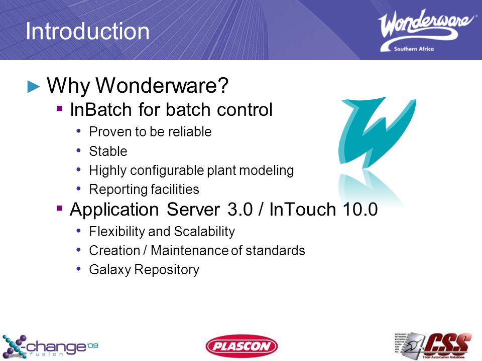 Introduction ► Why Wonderware.