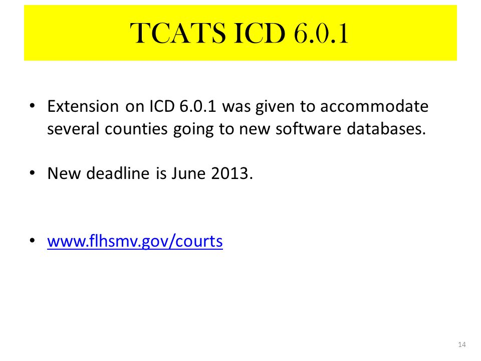 Extension on ICD 6.0.1 was given to accommodate several counties going to new software databases.