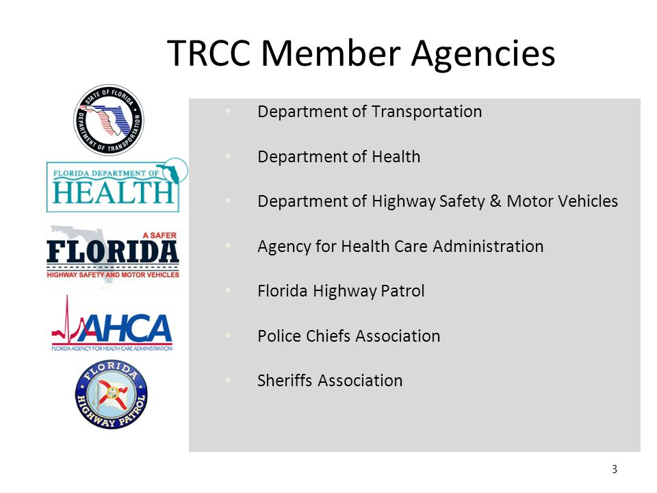 3 TRCC Member Agencies Department of Transportation Department of Health Department of Highway Safety & Motor Vehicles Agency for Health Care Administration Florida Highway Patrol Police Chiefs Association Sheriffs Association
