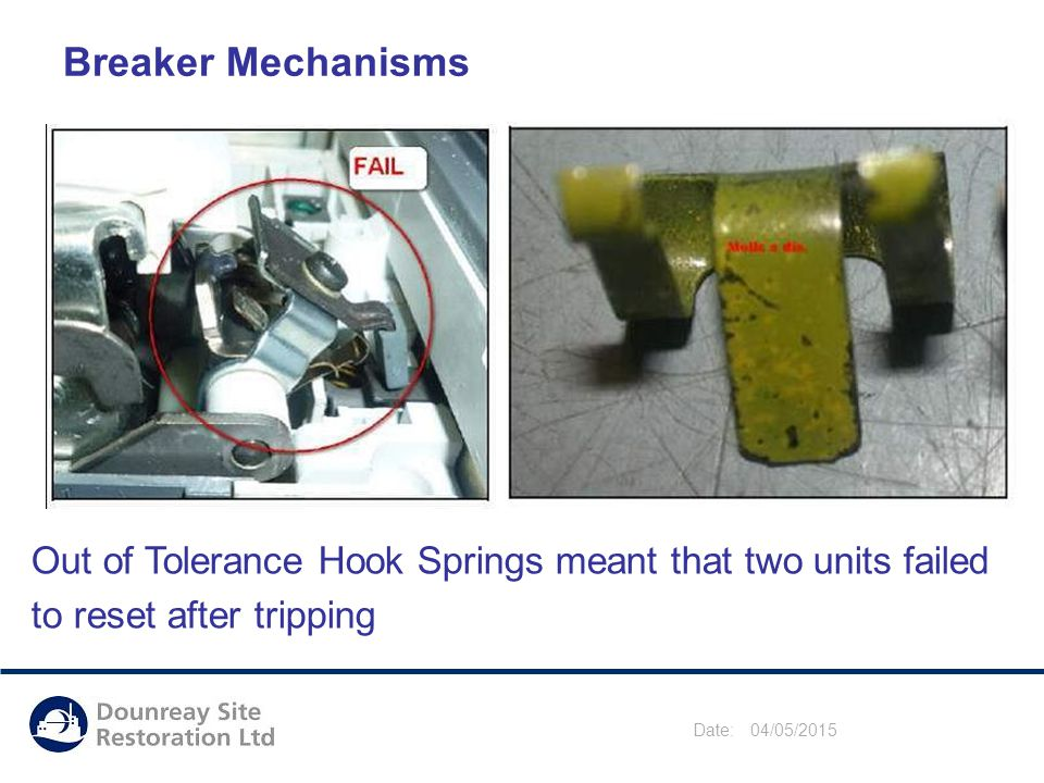 Date: 04/05/2015 Breaker Mechanisms Out of Tolerance Hook Springs meant that two units failed to reset after tripping