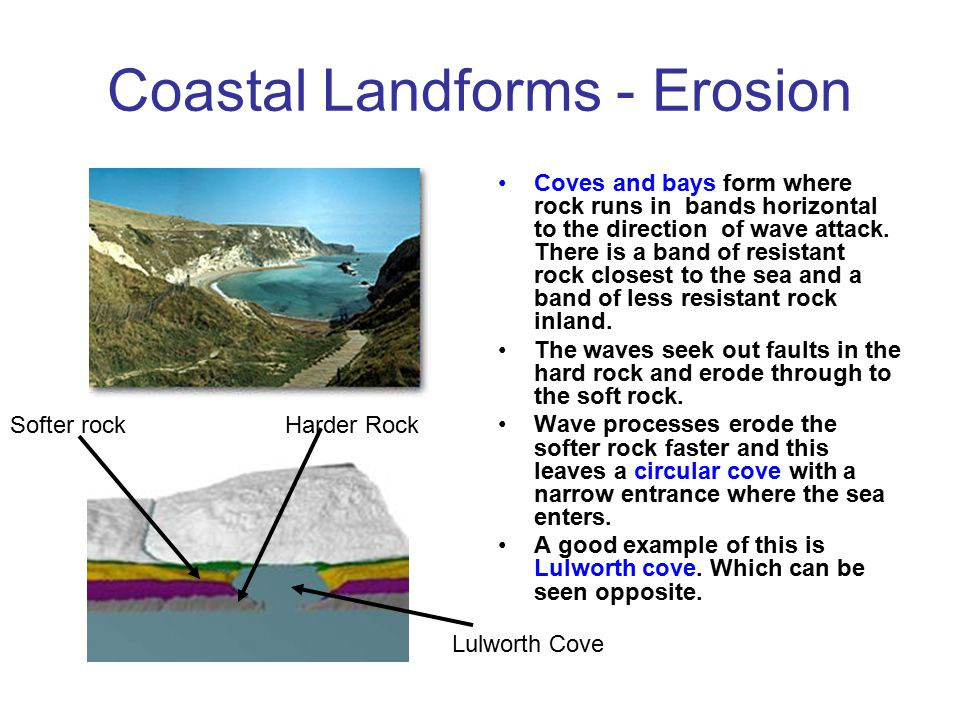 Coastal Landforms - Erosion Stacks, stumps and caves are formed on cliffs. Waves attack vertical lines of weakness in the rock known as Faults. Proces