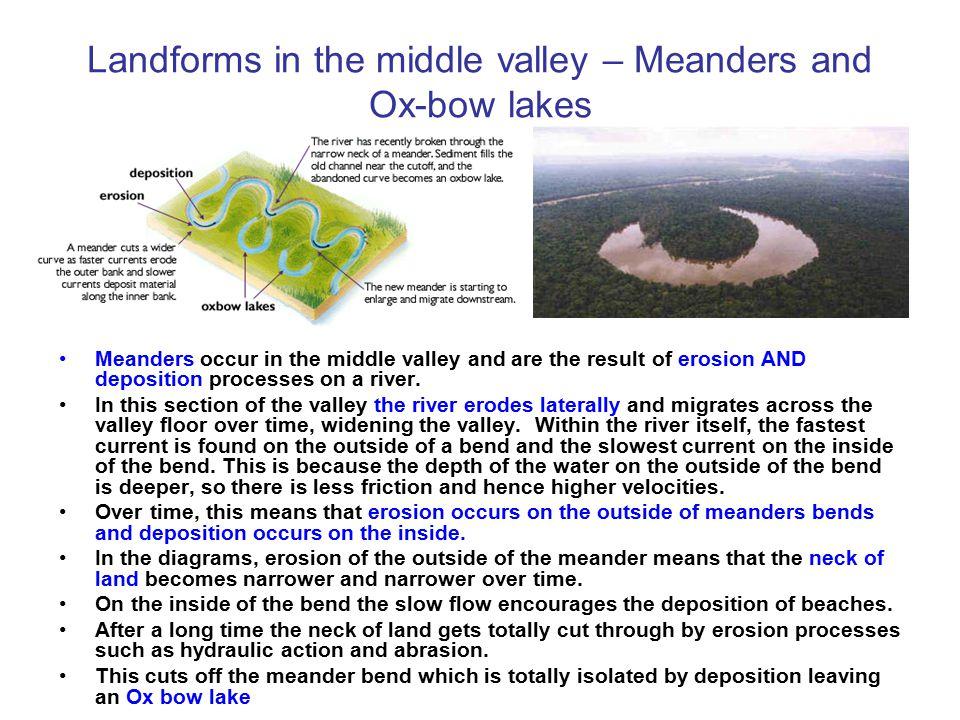 Landforms in upper River Valleys – V-shaped valleys Vertical erosion processes wear away the rock in upper valleys. As the river erodes down over it l