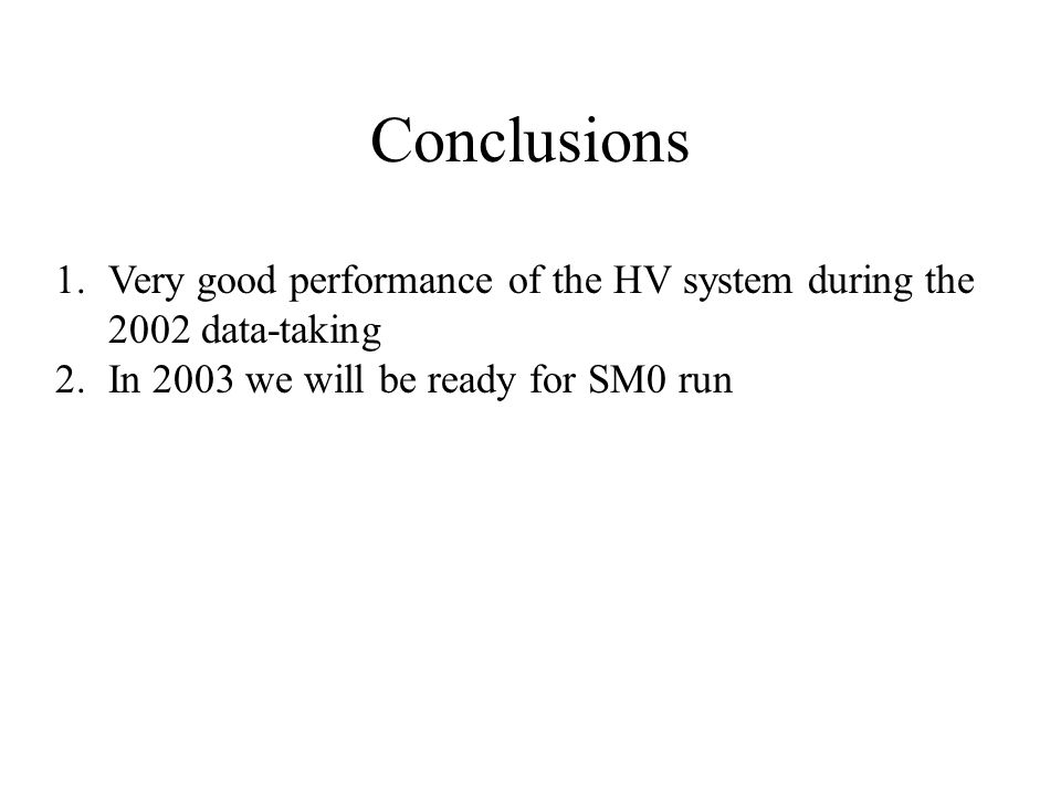 Conclusions 1.Very good performance of the HV system during the 2002 data-taking 2.In 2003 we will be ready for SM0 run