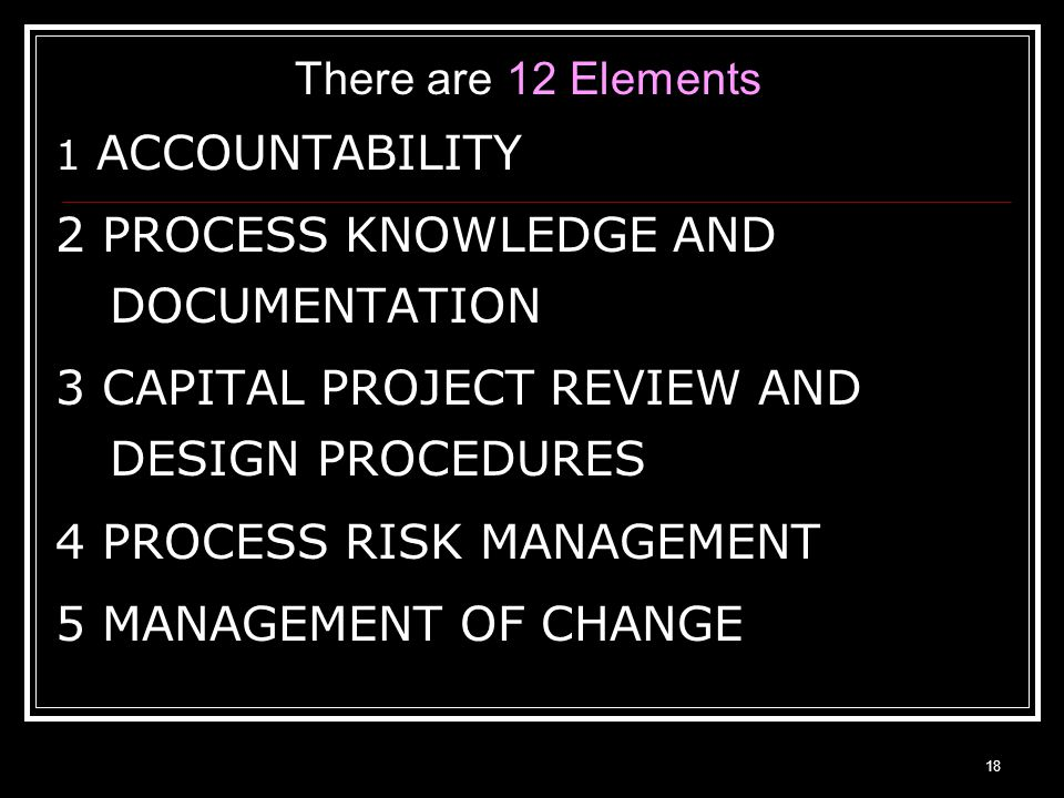 17 CCPS Process Safety Management Elements