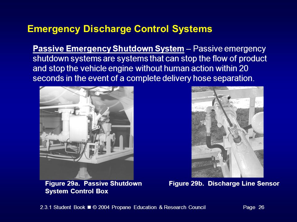 2.3.1 Student Book © 2004 Propane Education & Research CouncilPage 26 Emergency Discharge Control Systems Passive Emergency Shutdown System – Passive