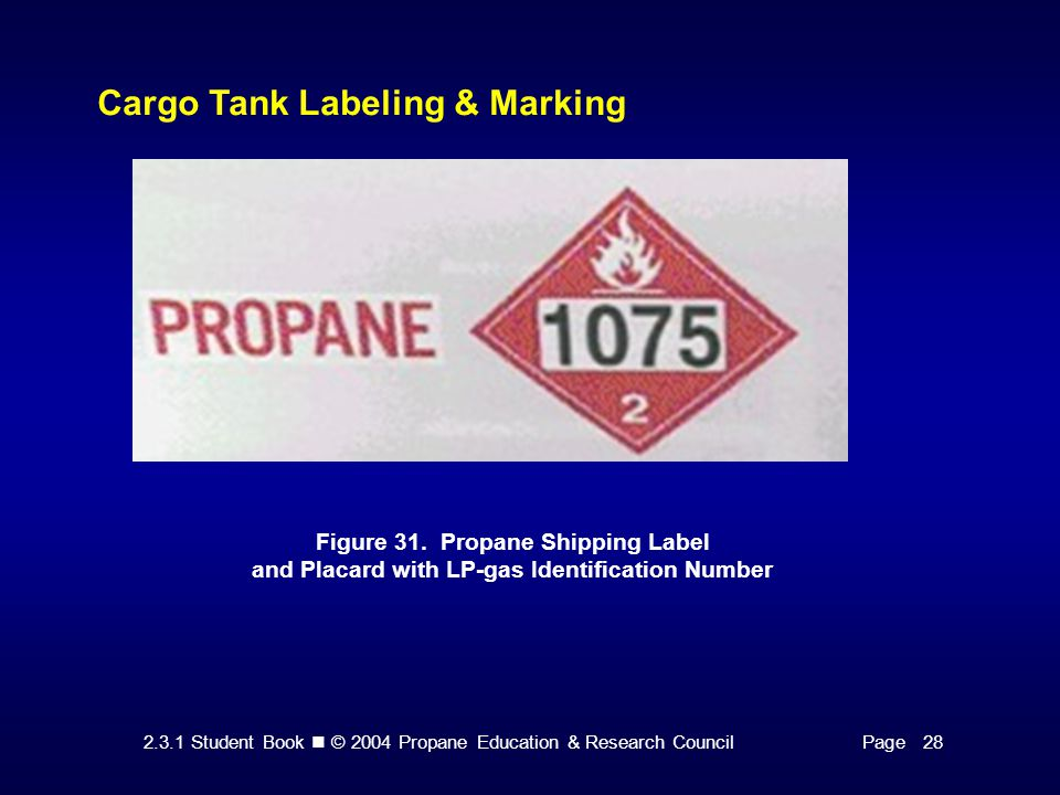 2.3.1 Student Book © 2004 Propane Education & Research CouncilPage 28 Cargo Tank Labeling & Marking Figure 31. Propane Shipping Label and Placard with