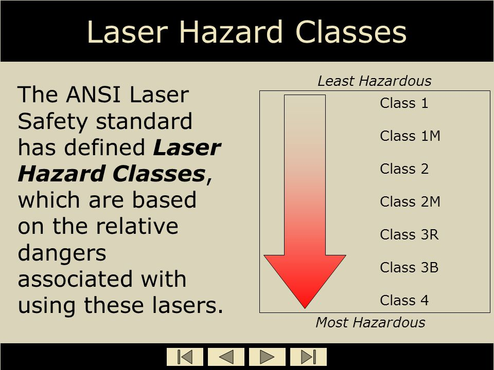 Laser Hazard Classes The ANSI Laser Safety standard has defined Laser Hazard Classes, which are based on the relative dangers associated with using th