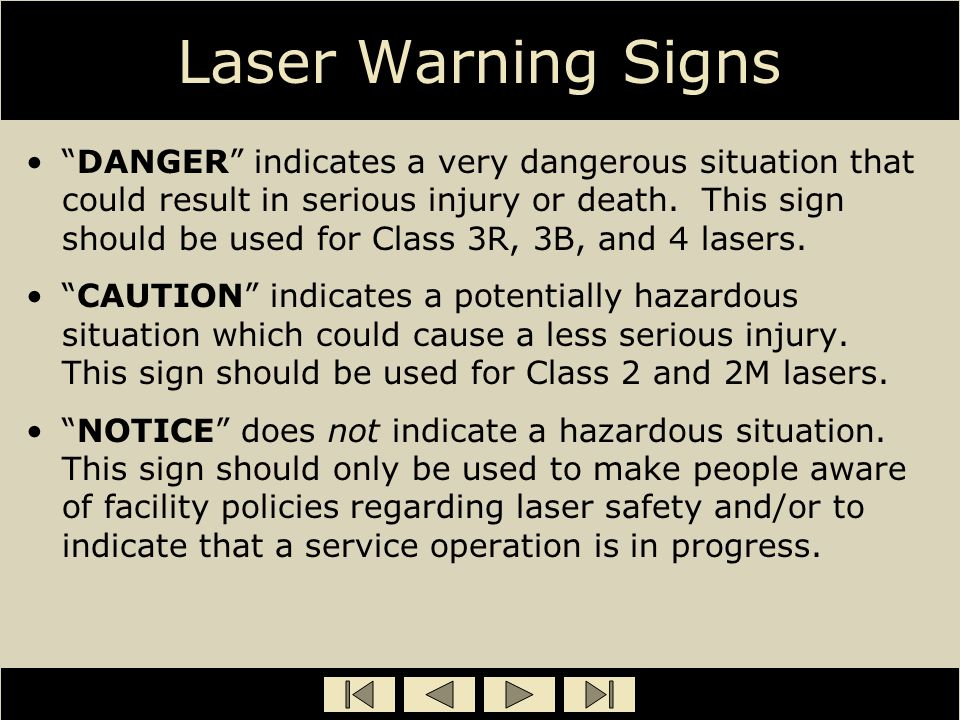 "Laser Warning Signs ""DANGER"" indicates a very dangerous situation that could result in serious injury or death. This sign should be used for Class 3R,"