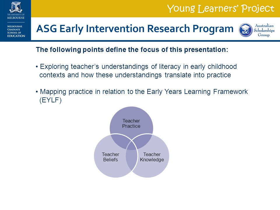 The following points define the focus of this presentation: Exploring teacher's understandings of literacy in early childhood contexts and how these u