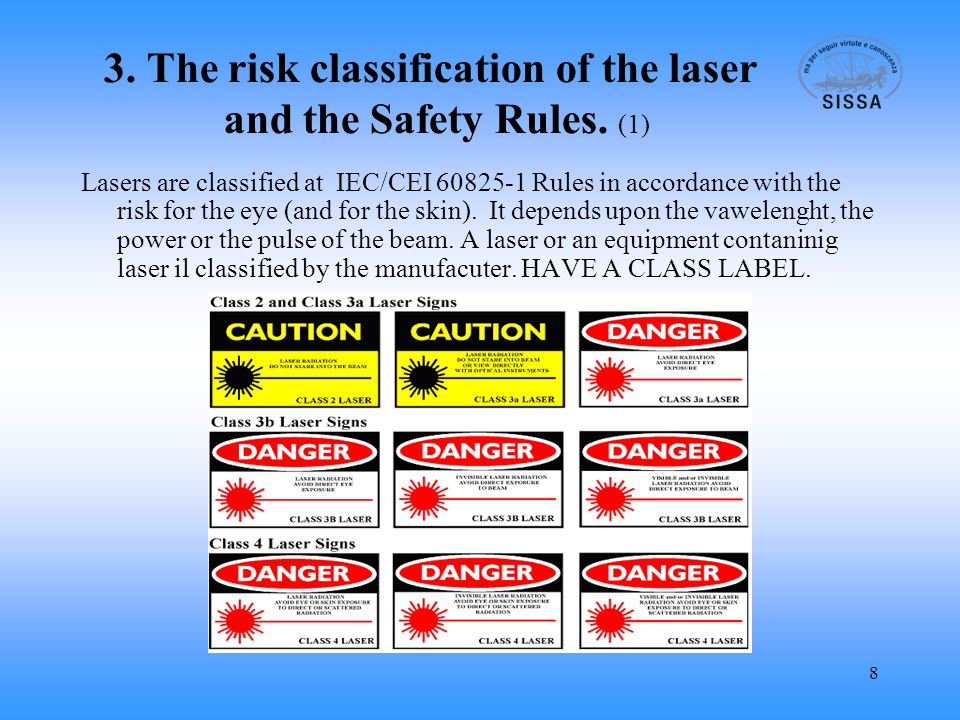 9 3.The risk classification of the laser and the Safety Rules.