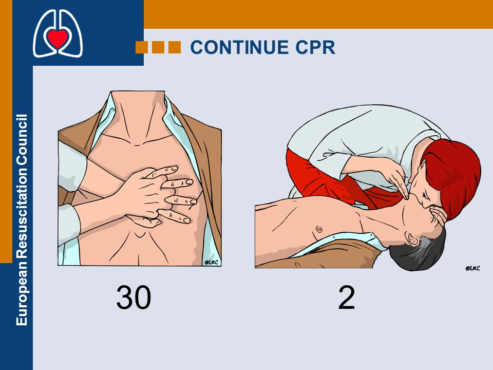 European Resuscitation Council RESCUE BREATHS Pinch the nose Take a normal breath Place lips over mouth Blow until the chest rises Take about 1 second