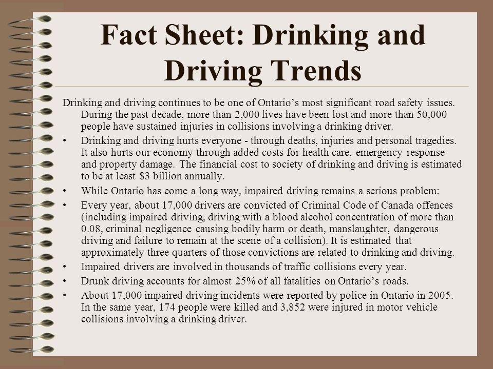 Fact Sheet: Drinking and Driving Trends Drinking and driving continues to be one of Ontario's most significant road safety issues. During the past dec