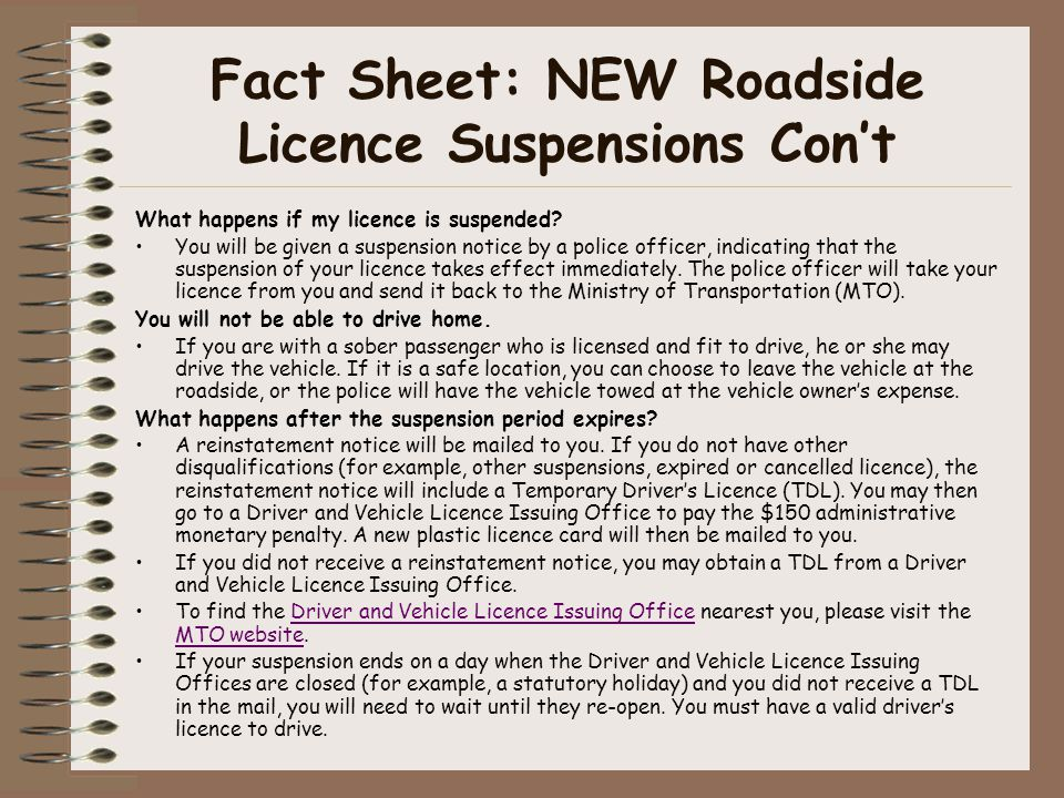 Fact Sheet: NEW Roadside Licence Suspensions Con't What happens if my licence is suspended.