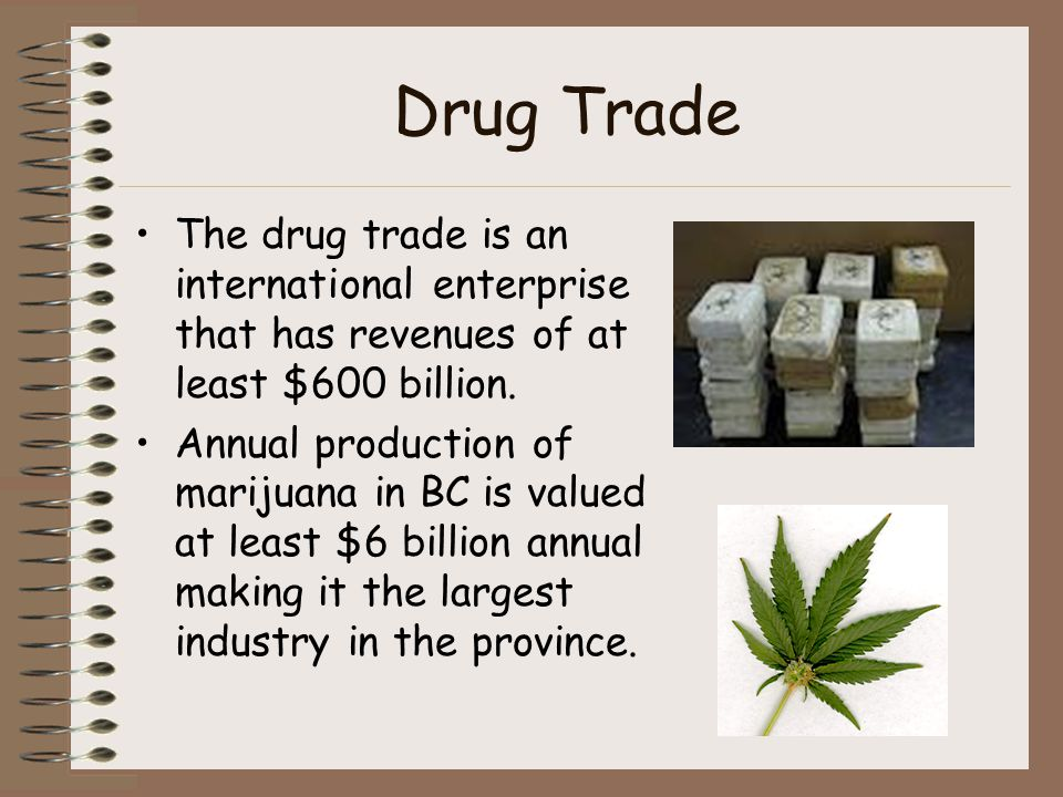 Drug Trade The drug trade is an international enterprise that has revenues of at least $600 billion. Annual production of marijuana in BC is valued at