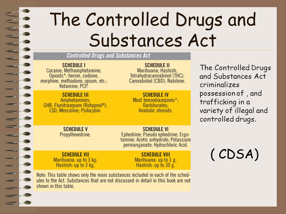 The Controlled Drugs and Substances Act The Controlled Drugs and Substances Act criminalizes possession of, and trafficking in a variety of illegal an