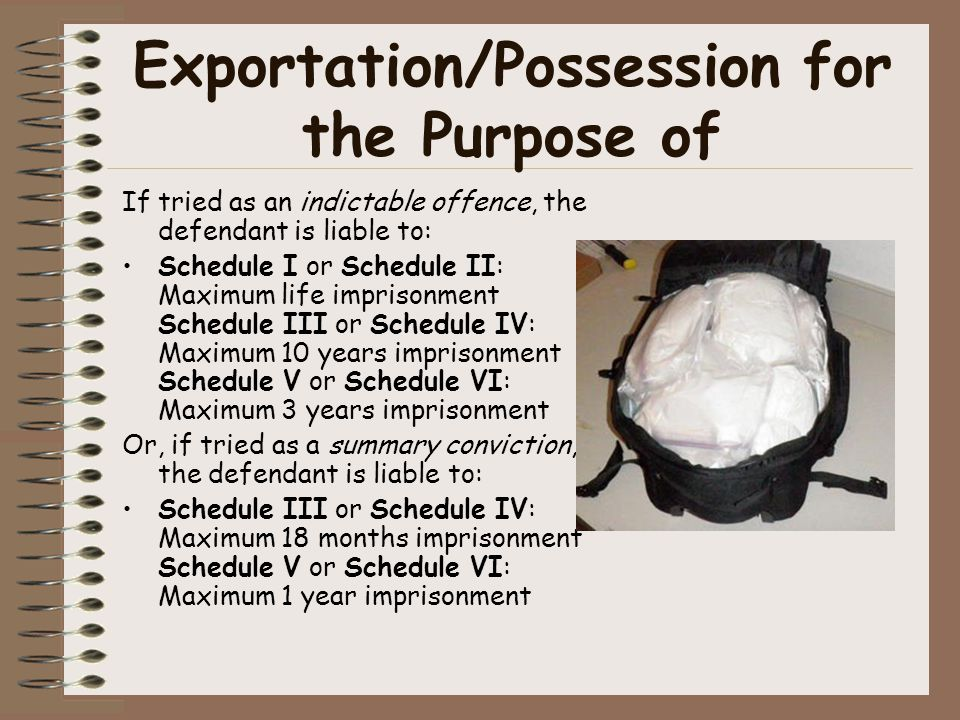 Exportation/Possession for the Purpose of If tried as an indictable offence, the defendant is liable to: Schedule I or Schedule II: Maximum life impri
