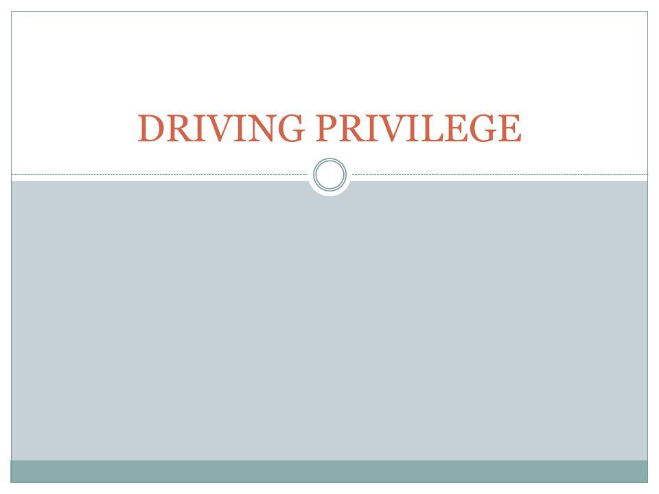 DRIVING PRIVILEGE