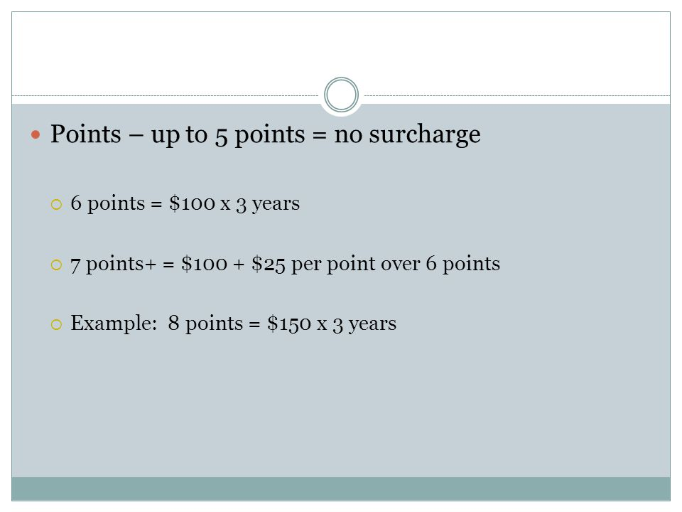 Points – up to 5 points = no surcharge  6 points = $100 x 3 years  7 points+ = $100 + $25 per point over 6 points  Example: 8 points = $150 x 3 yea