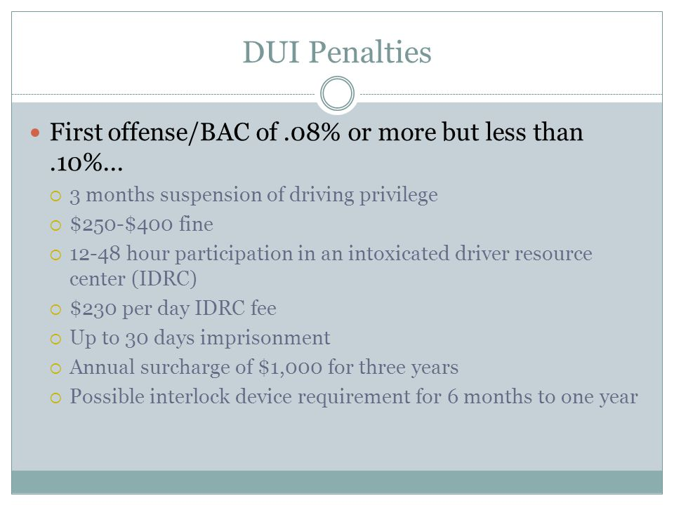 DUI Penalties First offense/BAC of.08% or more but less than.10%...  3 months suspension of driving privilege  $250-$400 fine  12-48 hour participa