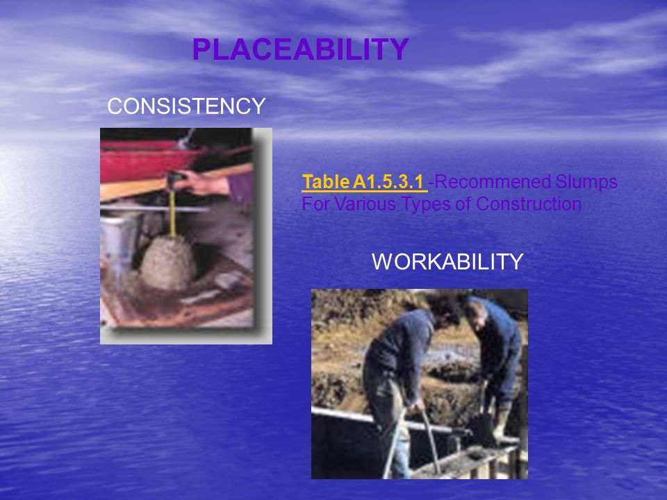 WORKABILITY PLACEABILITY CONSISTENCY Table A1.5.3.1 Table A1.5.3.1 -Recommened Slumps For Various Types of Construction