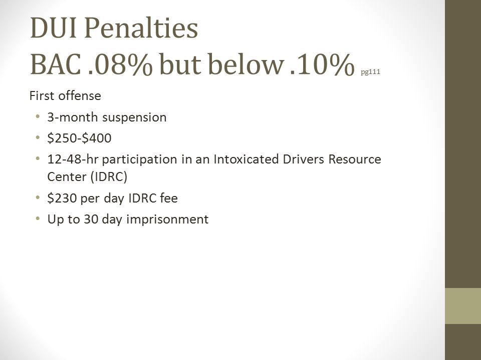 DUI Penalties BAC.08% but below.10% pg111 First offense 3-month suspension $250-$400 12-48-hr participation in an Intoxicated Drivers Resource Center (IDRC) $230 per day IDRC fee Up to 30 day imprisonment