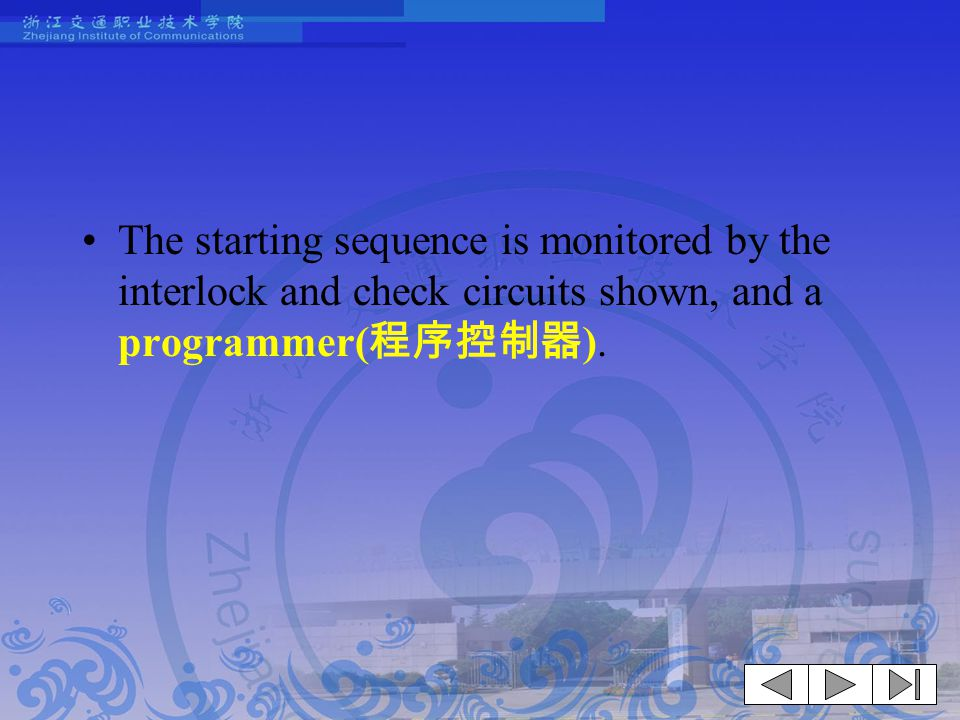 The starting sequence is monitored by the interlock and check circuits shown, and a programmer( 程序控制器 ).