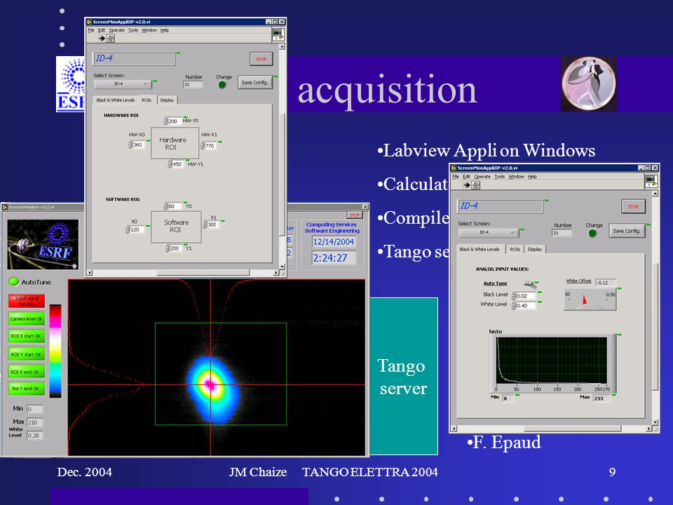 Dec. 2004JM Chaize TANGO ELETTRA 20049 Image acquisition Labview Appli on Windows Calculate on line the emittance Compiled in DLL Tango server uses th