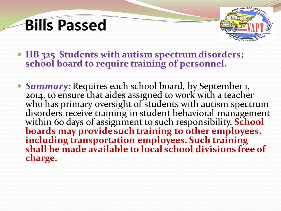 HB 325 Students with autism spectrum disorders; school board to require training of personnel.