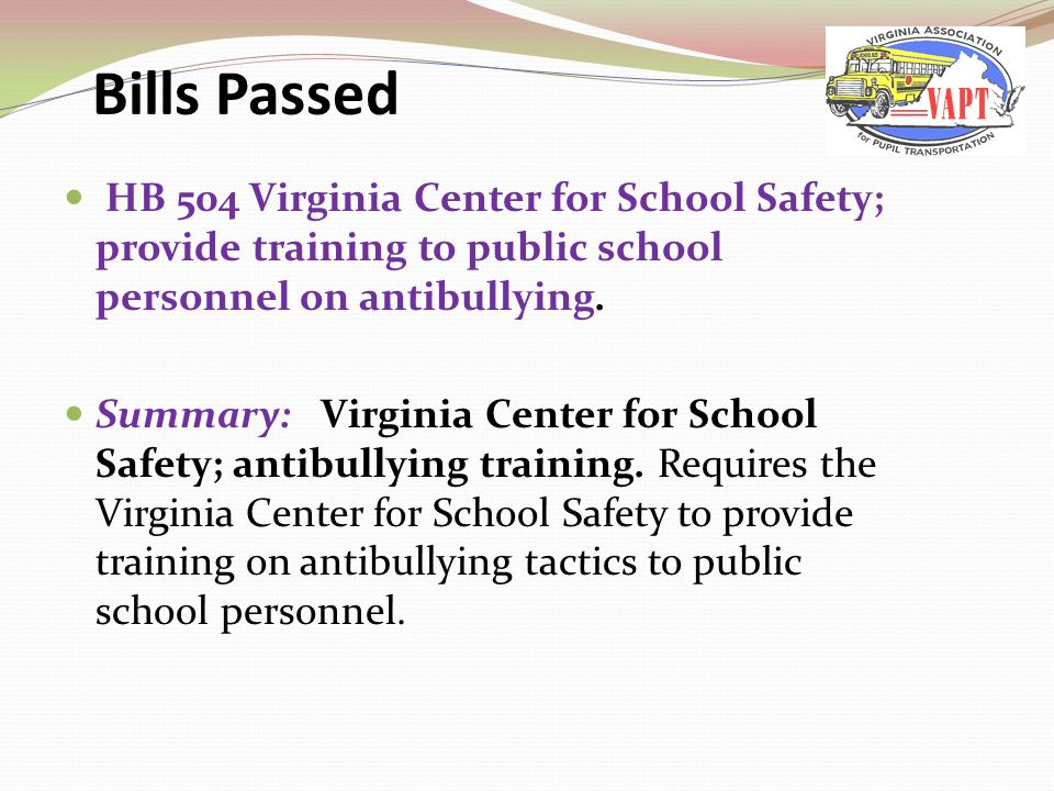 HB 504 Virginia Center for School Safety; provide training to public school personnel on antibullying.