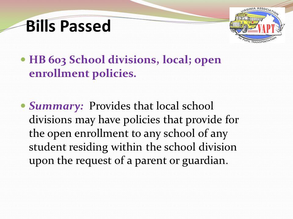 HB 603 School divisions, local; open enrollment policies.