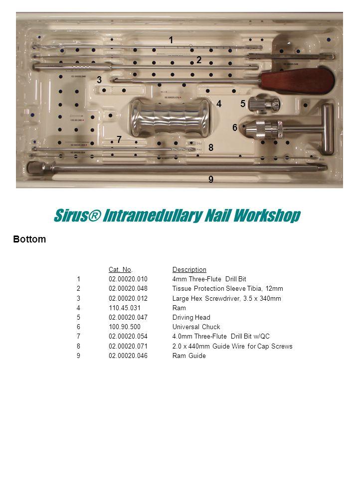 Sirus® Intramedullary Nail Workshop Bottom Cat. No.Description 102.00020.0104mm Three-Flute Drill Bit 202.00020.048Tissue Protection Sleeve Tibia, 12m