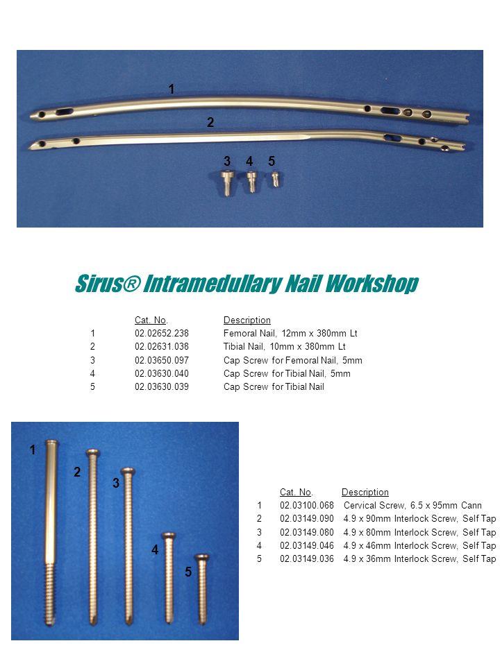 Sirus® Intramedullary Nail Workshop Cat. No.Description 102.02652.238Femoral Nail, 12mm x 380mm Lt 202.02631.038Tibial Nail, 10mm x 380mm Lt 302.03650