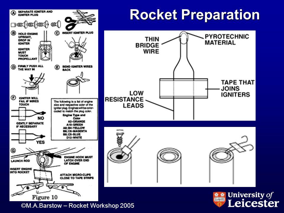 ©M.A.Barstow – Rocket Workshop 2005 Rocket Preparation Rocket Preparation