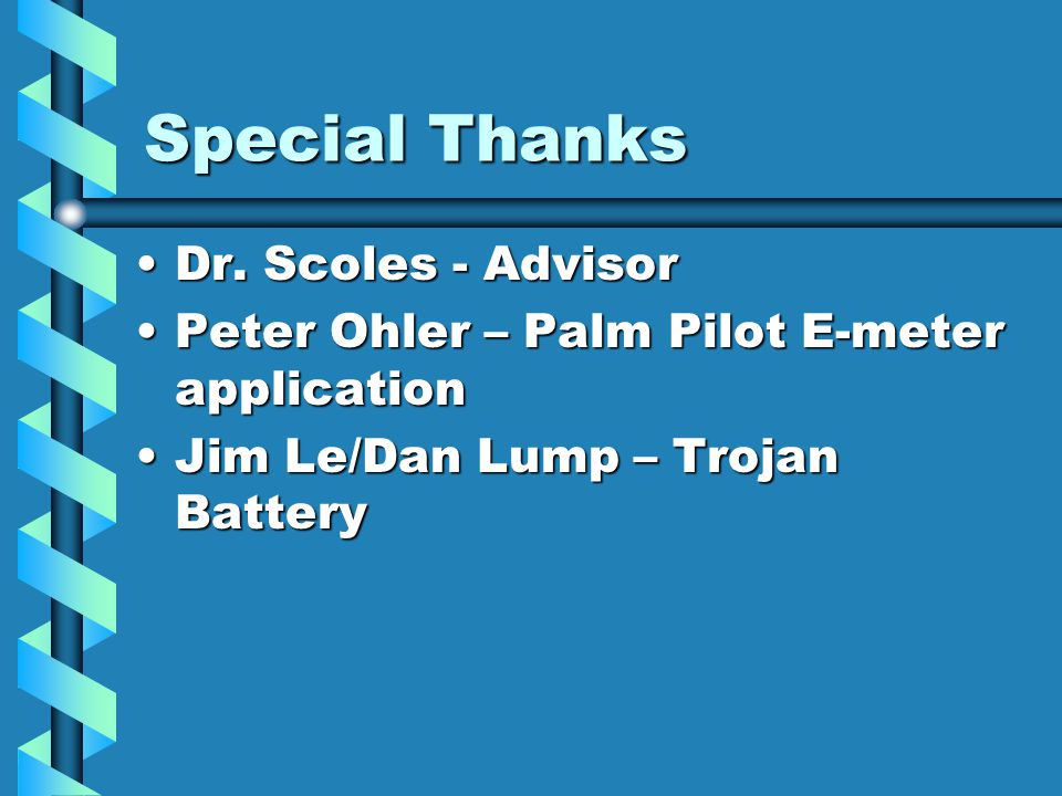 Special Thanks Dr. Scoles - AdvisorDr.