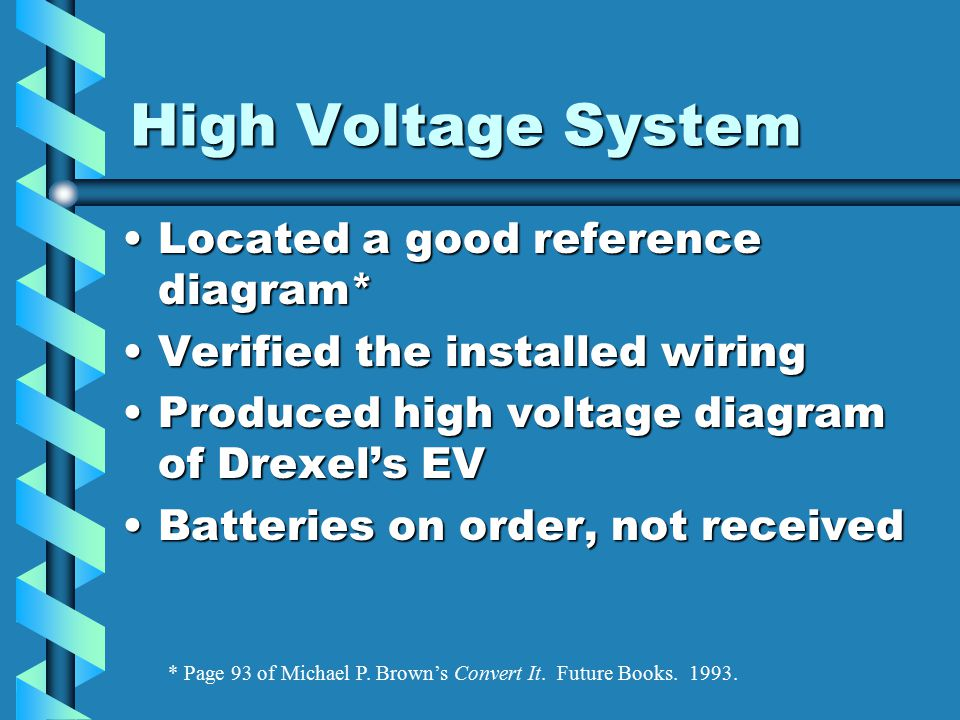 High Voltage System Located a good reference diagram*Located a good reference diagram* Verified the installed wiringVerified the installed wiring Produced high voltage diagram of Drexel's EVProduced high voltage diagram of Drexel's EV Batteries on order, not receivedBatteries on order, not received * Page 93 of Michael P.