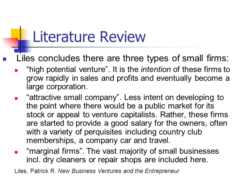 Literature Review Liles concludes there are three types of small firms: high potential venture .