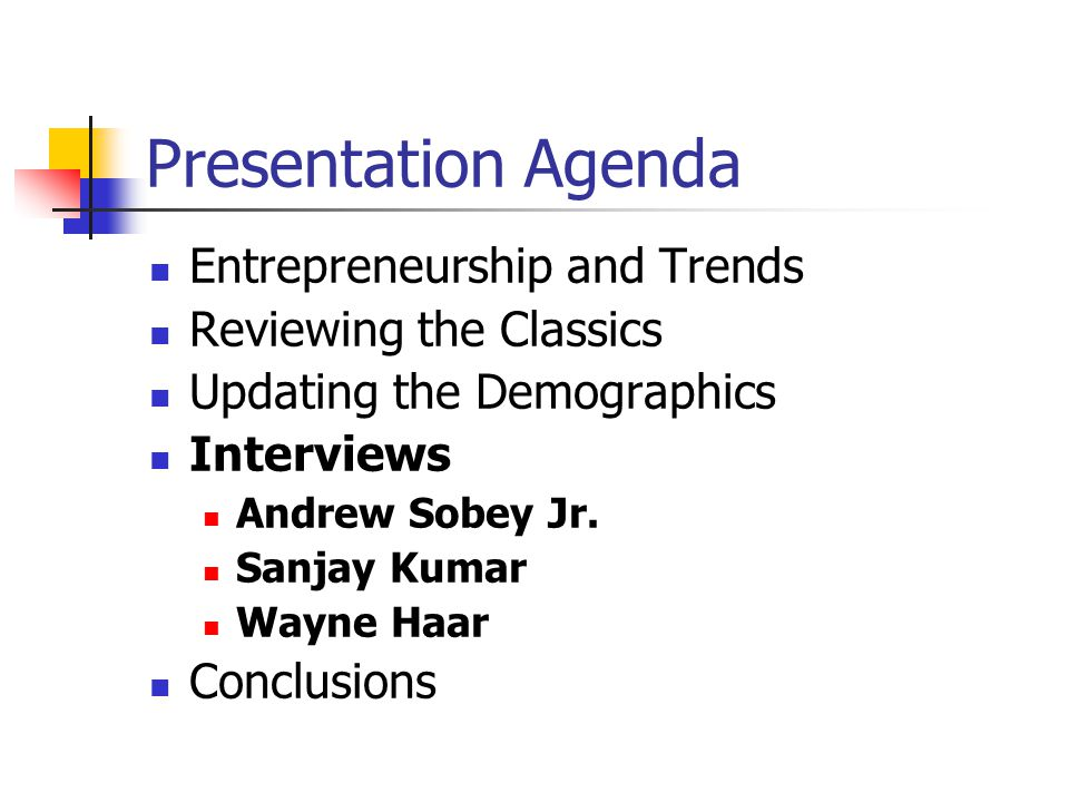 Presentation Agenda Entrepreneurship and Trends Reviewing the Classics Updating the Demographics Interviews Andrew Sobey Jr.