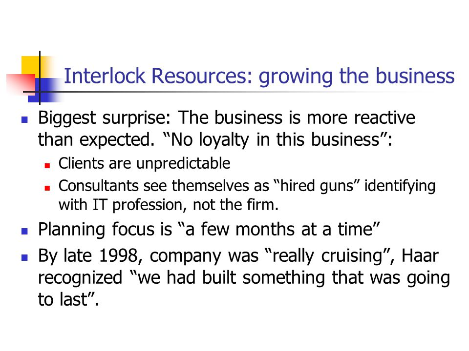 Interlock Resources: growing the business Biggest surprise: The business is more reactive than expected.