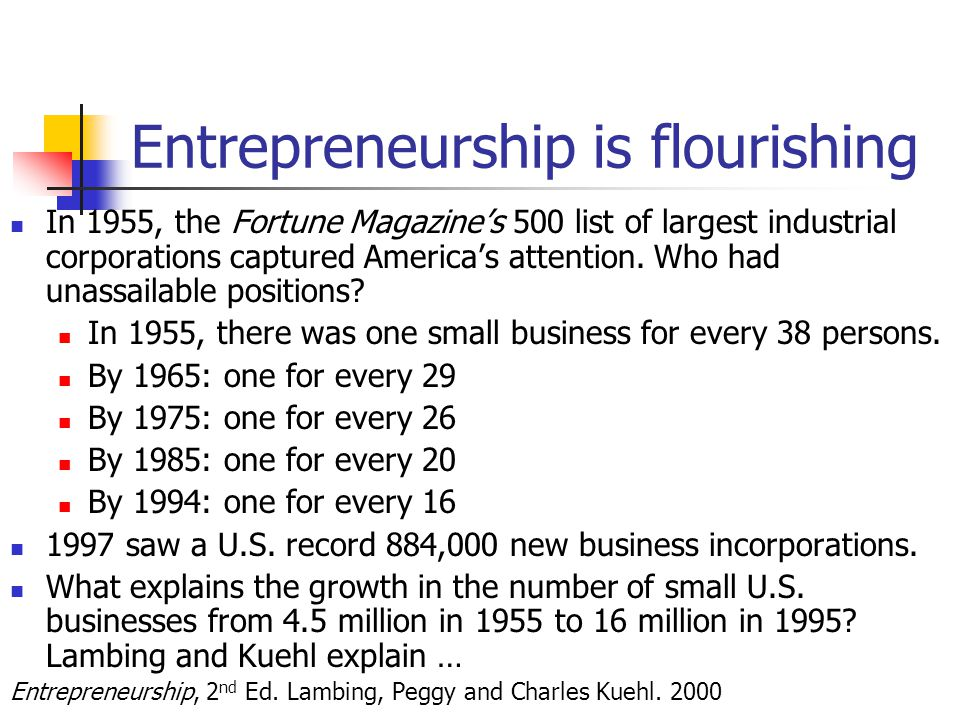 Entrepreneurship is flourishing In 1955, the Fortune Magazine's 500 list of largest industrial corporations captured America's attention.