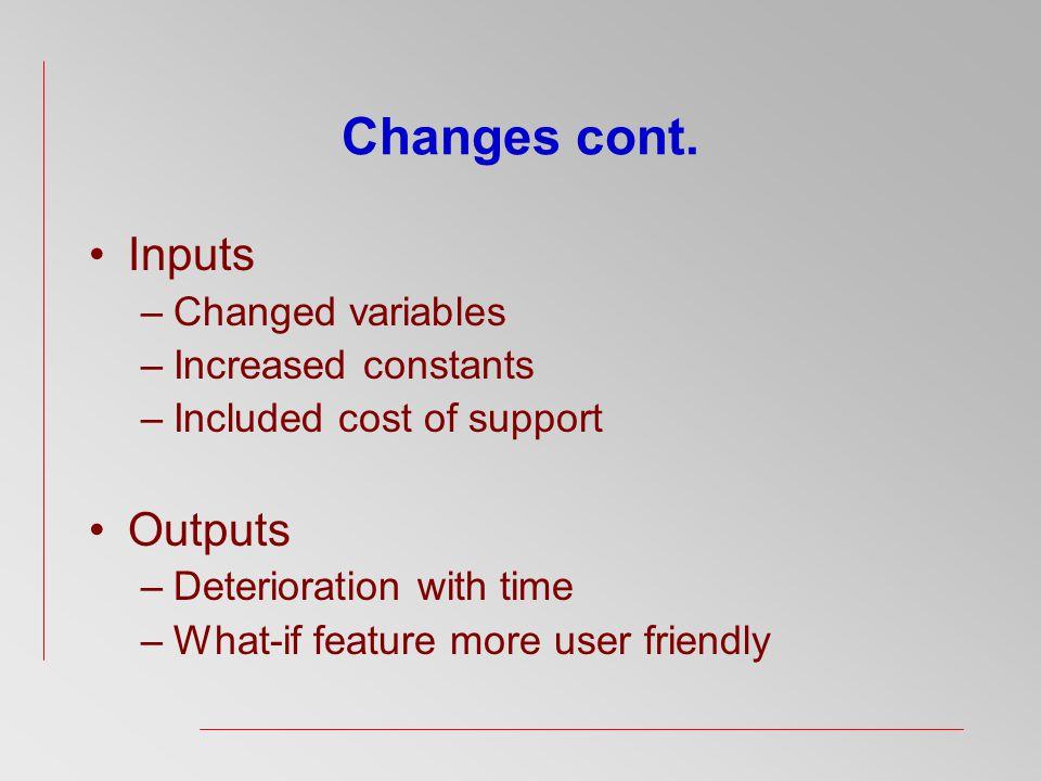 Changes cont.