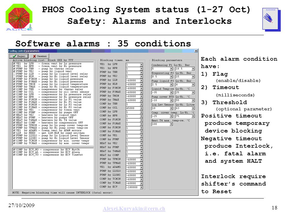 Alexei.Kuryakin@cern.ch 27/10/2009 18 PHOS Cooling System status (1-27 Oct) Safety: Alarms and Interlocks Software alarms : 35 conditions Each alarm condition have: 1) Flag (enable/disable) 2) Timeout (milliseconds) 3) Threshold (optional parameter) Positive timeout produce temporary device blocking Negative timeout produce Interlock, i.e.