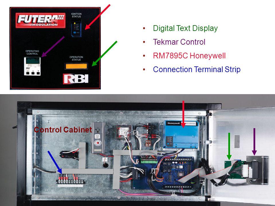 Digital Text Display Tekmar Control RM7895C Honeywell Connection Terminal Strip Control Cabinet