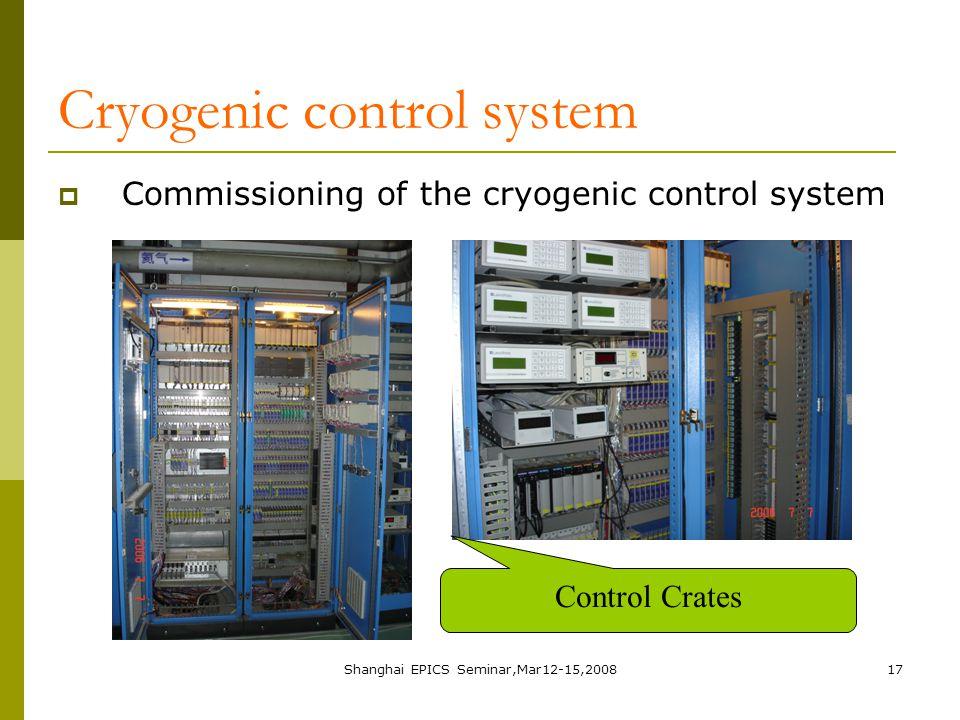 Shanghai EPICS Seminar,Mar12-15,200817 Cryogenic control system  Commissioning of the cryogenic control system Control Crates