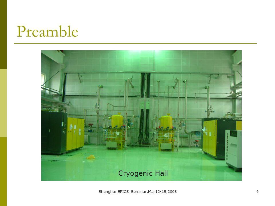 Shanghai EPICS Seminar,Mar12-15,20086 Preamble Cryogenic Hall