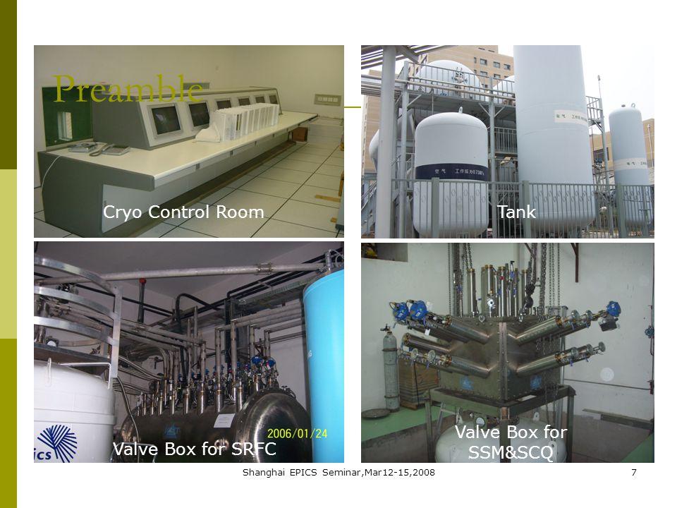 Shanghai EPICS Seminar,Mar12-15,20087 Cryo Control RoomTank Valve Box for SRFC Valve Box for SSM&SCQ Preamble