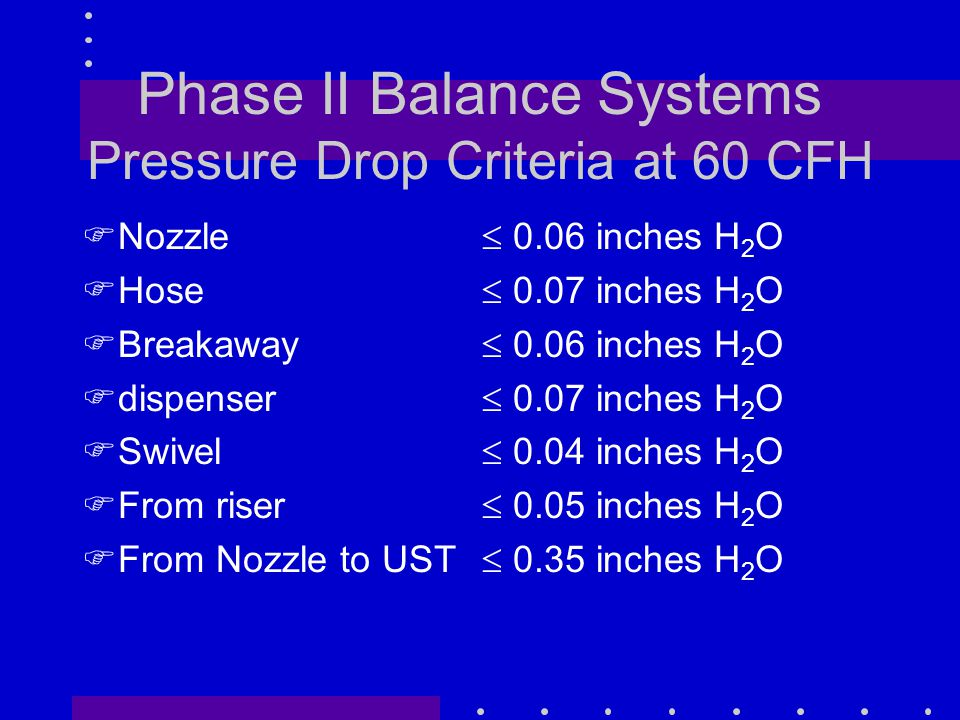 Phase II Balance Systems Pressure Drop Criteria at 60 CFH FNozzle FHose FBreakaway Fdispenser FSwivel FFrom riser FFrom Nozzle to UST  0.06 inches H 2 O  0.07 inches H 2 O  0.06 inches H 2 O  0.07 inches H 2 O  0.04 inches H 2 O  0.05 inches H 2 O  0.35 inches H 2 O