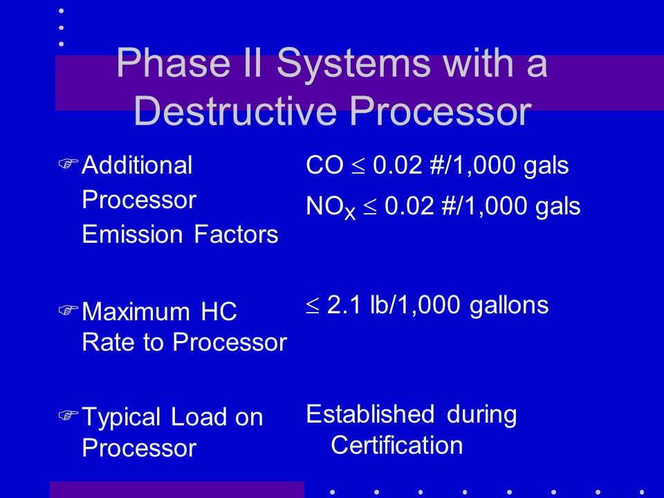 Phase II Systems with a Destructive Processor FAdditional Processor Emission Factors FMaximum HC Rate to Processor FTypical Load on Processor CO  0.02 #/1,000 gals NO X  0.02 #/1,000 gals  2.1 lb/1,000 gallons Established during Certification