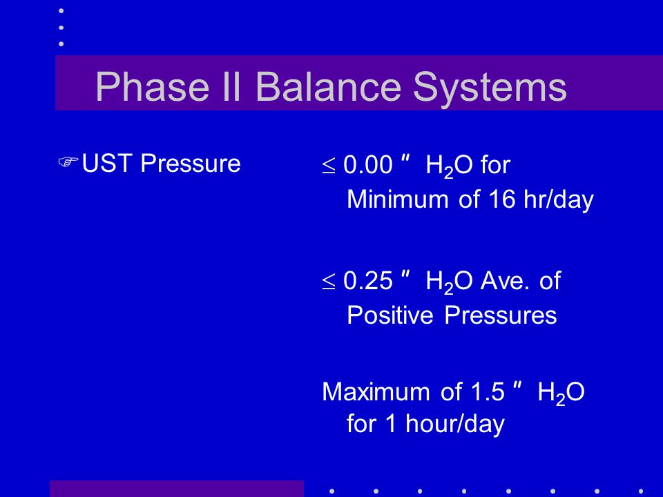 Phase II Balance Systems FUST Pressure  0.00 H 2 O for Minimum of 16 hr/day  0.25 H 2 O Ave.